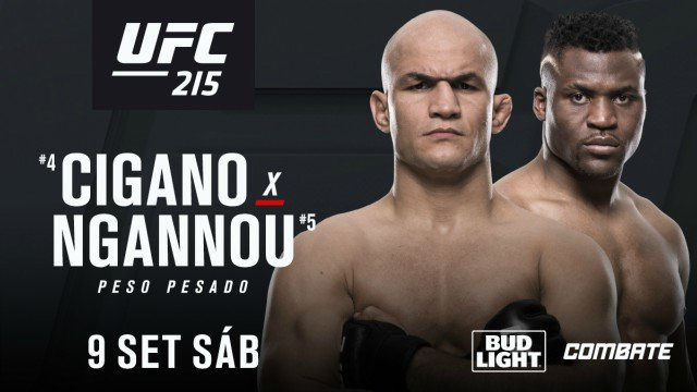 Junior Cigano e Francis Ngannou se enfrentam no card do UFC 215, em setembro (Foto Divulgação)