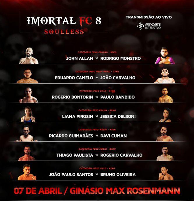 Ex-UFC Rodrigo Monstro encara John Allan no main event do Imortal FC 8; Jennier Maia lidera parte de grappling