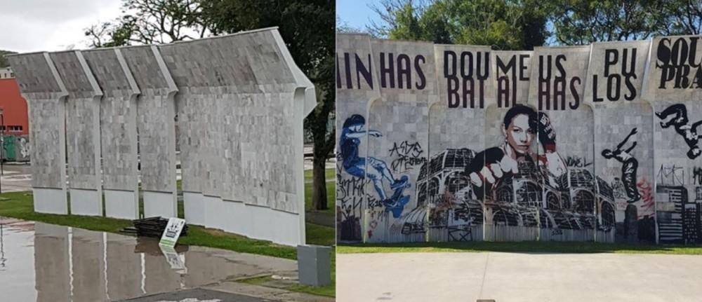 Imagem mostra homenagem feita a Cyborg e a mesma apagada pela prefeitura (Foto: Reprodução/Gazeta do Povo)