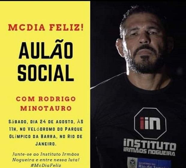 Lenda do MMA, Rodrigo Minotauro comanda 'aulão social' neste sábado (24) em prol do McDia Feliz; saiba mais